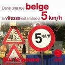 23 septembre 2020 - Dans une rue belge, la vitesse est limitée à 5 km/h - Sur le pouce